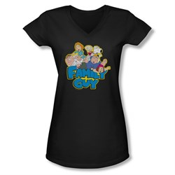 Family Guy Shirt Juniors V Neck Family Fight Black T-Shirt