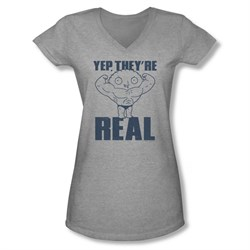Family Guy Shirt Juniors V Neck They're Real Silver T-Shirt