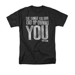 Image of Fight Club Shirt Owning You Adult Black Tee T-Shirt