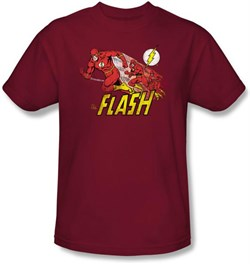 The Flash T-shirt - Crimson Comet DC Comics Adult Cardinal Red Tee