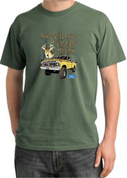 Image of Ford Truck T-Shirt Driving and Tagging Bucks Pigment Dyed Tee Olive