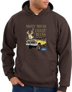 Image of Ford Truck Hoodie Driving and Tagging Bucks Brown Hoody