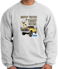 Image of Ford Truck Sweatshirt Driving and Tagging Bucks Ash Sweat Shirt
