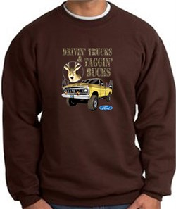 Image of Ford Truck Sweatshirt Driving and Tagging Bucks Brown Sweat Shirt