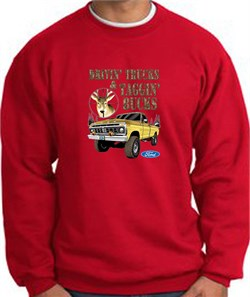 Image of Ford Truck Sweatshirt Driving and Tagging Bucks Red Sweat Shirt