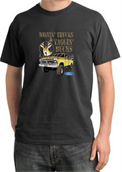 Image of Ford Truck Shirt Driving and Tagging Bucks Pigment Dyed Tee Dark Smoke