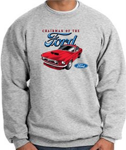 Image of Ford Mustang Sweatshirt Chairman Of The Ford Heather Grey Sweat Shirt