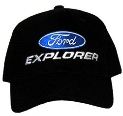Ford Hat - Explorer Fine Embroidered Adjustable Black Cap