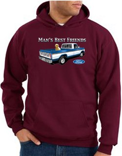 Image of Ford Trucks Hoodie Mans Best Friend Maroon Hoody