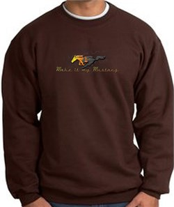 Image of Ford Mustang Sweatshirt - Make It My Mustang Grill Brown Sweat Shirt