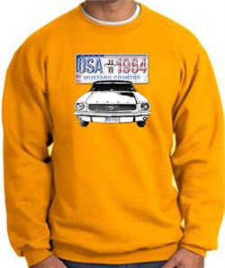 Image of Ford Mustang Sweatshirt - USA 1964 Country Adult Gold Sweat Shirt