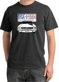 Image of Ford Mustang Pigment Dyed T-Shirt USA 1964 Country Dark Smoke Shirt