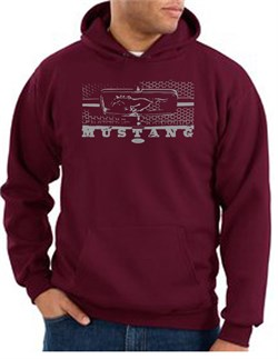 Image of Ford Mustang Hoodie Hooded Sweatshirt Legend Honeycomb Grille Maroon