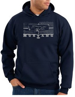 Image of Ford Mustang Hoodie Hooded Sweatshirt Legend Honeycomb Grille Navy