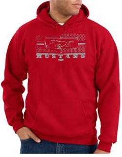 Image of Ford Mustang Hoodie Hooded Sweatshirt Legend Honeycomb Grille Red