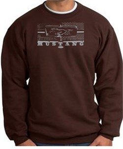 Image of Ford Mustang Sweatshirt Legend Honeycomb Grille Brown Sweat Shirt