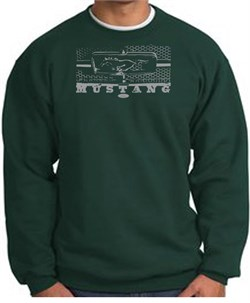 Image of Ford Mustang Sweatshirt Legend Honeycomb Grille Dark Green Sweat Shirt