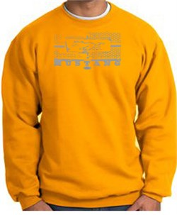 Image of Ford Mustang Sweatshirt Legend Honeycomb Grille Gold Sweat Shirt