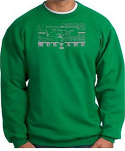 Image of Ford Mustang Sweatshirt Legend Honeycomb Grille Kelly Green Sweatshirt