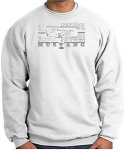 Image of Ford Mustang Sweatshirt Legend Honeycomb Grille White Sweat Shirt