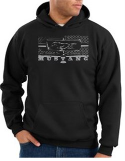 Image of Ford Mustang Hoodie Hooded Sweatshirt Legend Honeycomb Grille Black