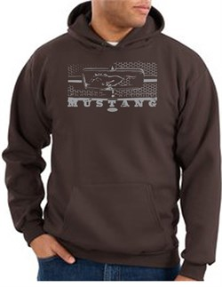Image of Ford Mustang Hoodie Hooded Sweatshirt Legend Honeycomb Grille Brown