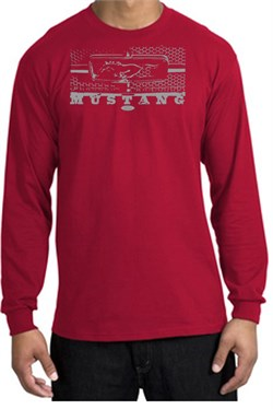 Image of Ford Mustang T-Shirt Legend Honeycomb Grille Long Sleeve Shirt Red