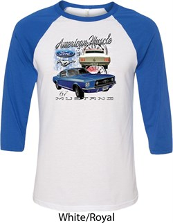 Image of Ford American Muscle 1967 Mustang Mens Raglan Shirt