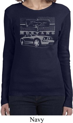 Image of Ford Mustang with Grill Ladies Long Sleeve Shirt