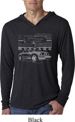 Image of Ford Mustang with Grill Lightweight Hoodie Shirt
