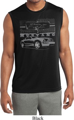 Image of Ford Mustang with Grill Mens Sleeveless Moisture Wicking Shirt