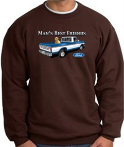Image of Ford Trucks Sweatshirt - Man's Best Friend Adult Brown Sweat Shirt