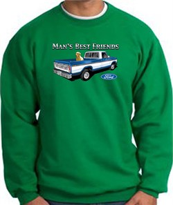 Image of Ford Trucks Sweatshirt Mans Best Friend Kelly Green Sweat Shirt