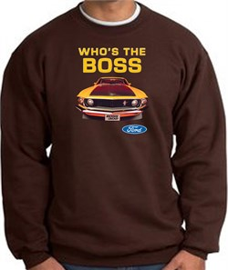 Image of Ford Mustang Boss Sweatshirt Who's The Boss 302 Chocolate Sweat Shirt