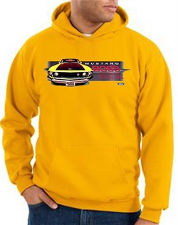 Image of Ford Mustang Boss Hoodie - 302 Yellow Mustang Adult Gold Hoody