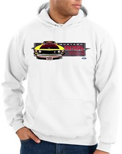 Image of Ford Mustang Boss Hoodie - 302 Yellow Mustang Adult White Hoody