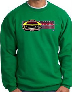 Image of Ford Mustang Boss Sweatshirt - 302 Yellow Mustang Adult Kelly Green