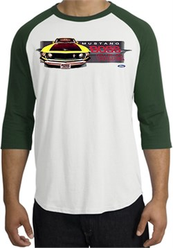 Image of Ford Mustang Boss Raglan Shirt - 302 Yellow Mustang White/Forest Tee
