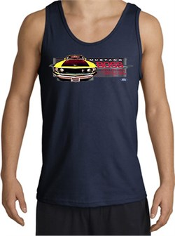 Image of Ford Mustang Boss Tank Top - 302 Yellow Mustang Adult Navy Tanktop