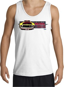 Image of Ford Mustang Boss Tank Top - 302 Yellow Mustang Adult White Tanktop