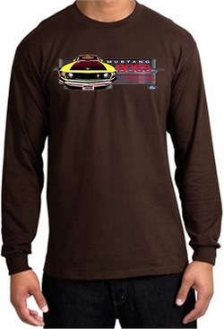 Image of Ford Mustang Boss Shirt 302 Yellow Mustang Long Sleeve Tee Brown