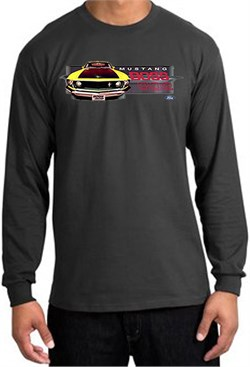 Image of Ford Mustang Boss Long Sleeve Shirt - 302 Yellow Mustang Charcoal Tee