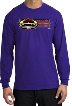 Image of Ford Mustang Boss Long Sleeve Shirt - 302 Yellow Mustang Purple Tee