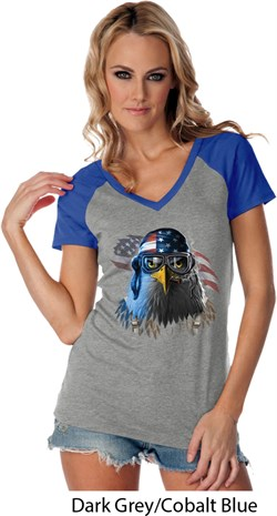 Image of Freedom Fighter Stryker Ladies Contrast V-Neck Shirt