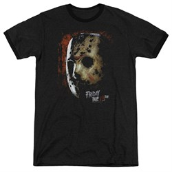 Friday the 13th Jason Voorhees Mask Black Ringer Shirt