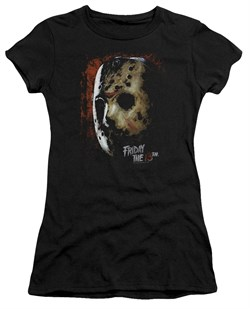 Friday the 13th Juniors Shirt Jason Voorhees Mask Black T-Shirt