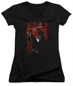 Friday the 13th Juniors V Neck Shirt Jason Lives Black T-Shirt