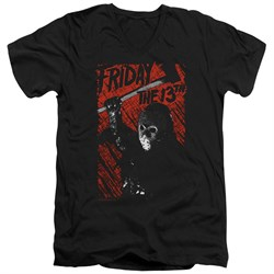 Friday the 13th Slim Fit V-Neck Shirt Jason Lives Black T-Shirt