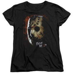 Friday the 13th Womens Shirt Jason Voorhees Mask Black T-Shirt