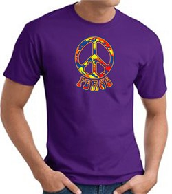 Image of Funky 70s Peace World Peace Sign Symbol Adult T-shirt - Purple